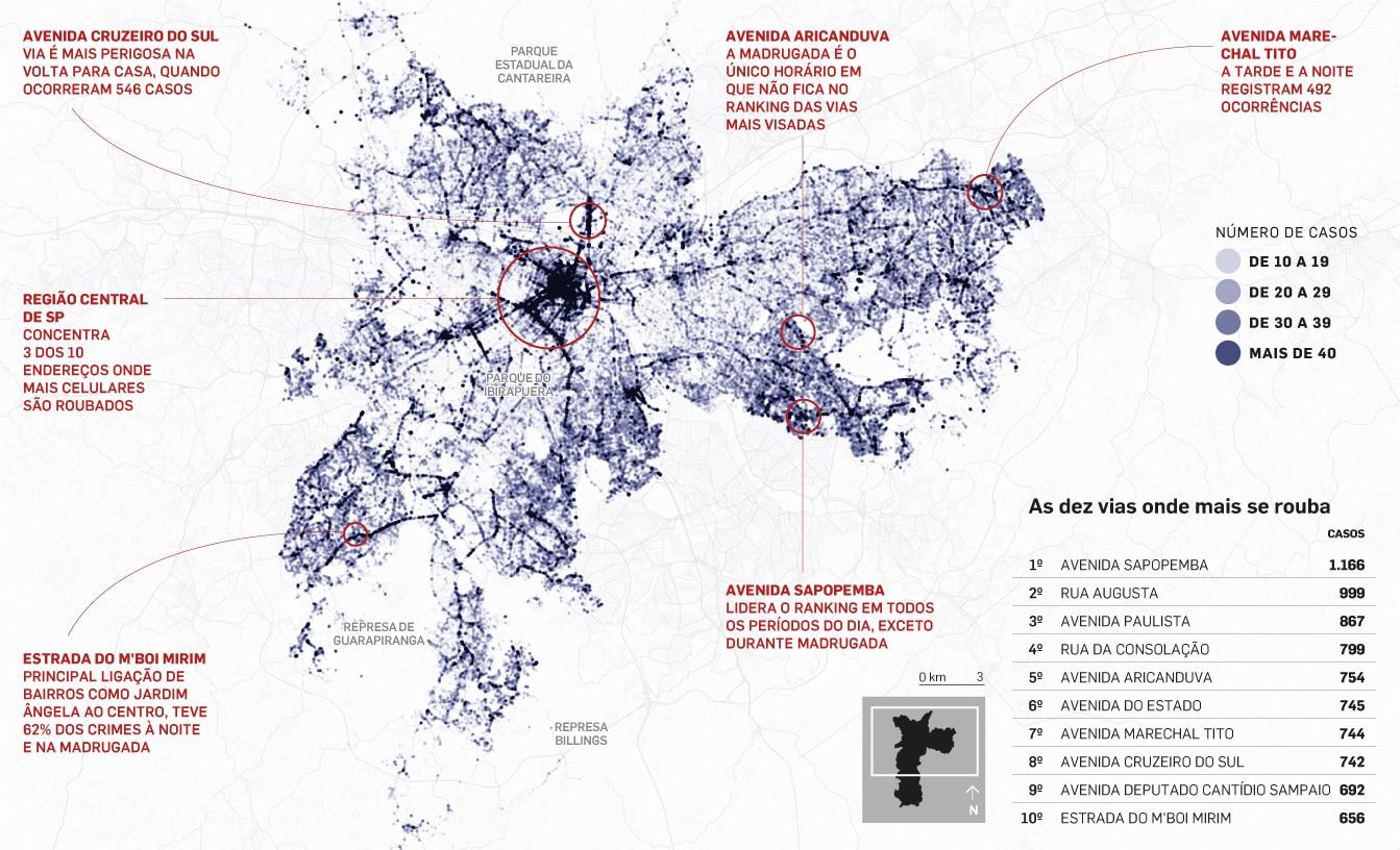 c5beb056569 SÃO PAULO - Metade das ruas da cidade de São Paulo teve ao menos um roubo  de celular registrado do início de 2016 até agosto deste ano. São cerca de  32 mil ...