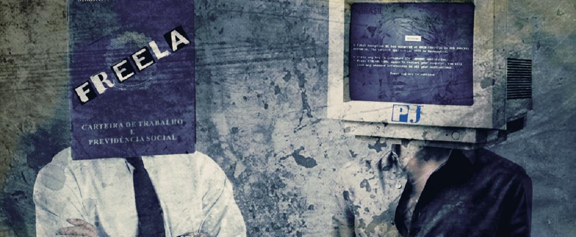 """Dois homens com roupas sociais e os braços cruzados estão lado a lado. Em um deles, há uma carteira de trabalho com a palavra """"frila"""" no lugar da cabeça. No outro, há um computador com uma mensagem de erro no lugar da cabeça."""