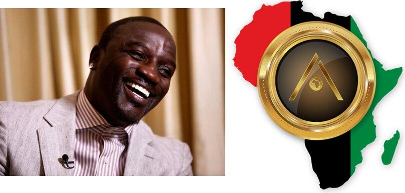 Do lado esquerdo da imagem, está uma foto do cantor Akon. Ele sorri. Do lado direito, o símbolo da Akoin. É um círculo dourado em volta, com o centro em tons escuros e a letra A estilizada em dourado, com um desenho do continente africano no centro, pequeno, também em dourado. Em volta desse símbolo, tem outro desenho do continente africano, bem maior, listrado nas cores vermelha, preta e verde, respectivamente da esquerda para a direita.