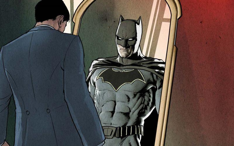Ilustração do Bruce Wayne se olhando no espelho, mas ao invés de enxergar seu reflexo, o que aparece do outro lado é o Batman com expressão muito séria. Bruce usa paletó azul marinho e tem cabelo preto. Já Batman usa uniforme todo em preto, com capa e desenho de morcego em seu peito. Ele usa máscara que cobre o rosto, deixando apenas olhos, nariz e boca descobertos.