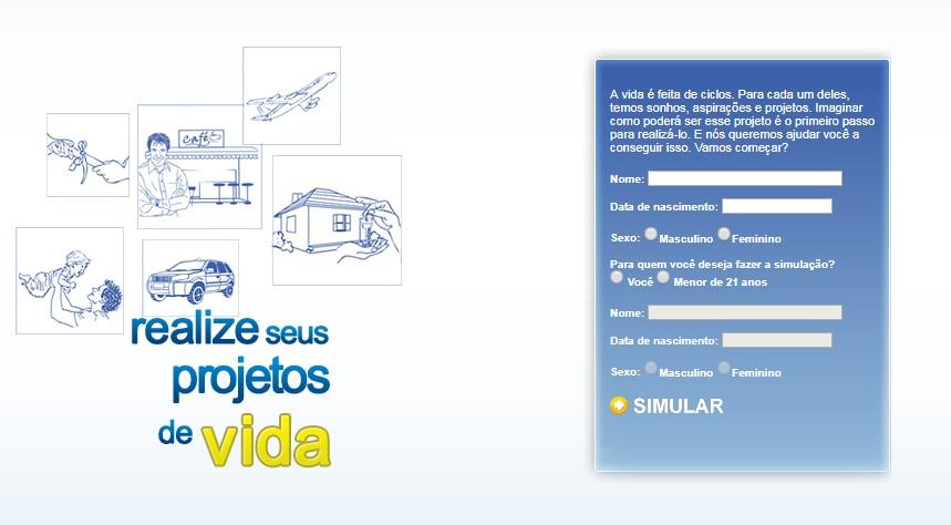 Primeira tela do simulador, que pergunta nome, data de nascimento, sexo e para quem você deseja fazer a simulação. Abaixo, um botão escrito simular que leva para os resultados.