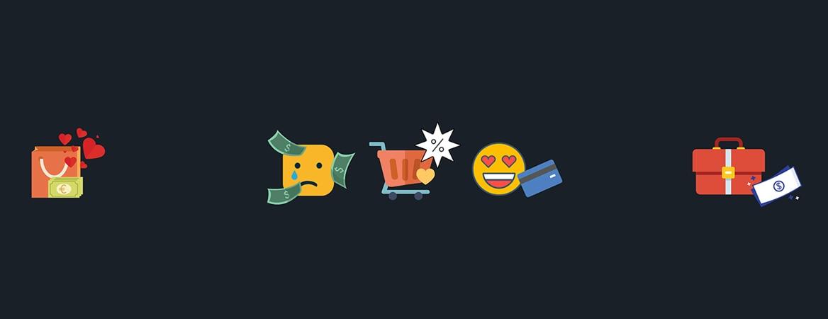 Arte em fundo azul marinho com cinco símbolos que lembram emojis. O primeiro é de uma sacola vermelha e notas de dinheiro. O segundo é de uma carinha triste, o terceiro de um carrinho de compras e o quarto de um rosto feliz. Já o último símbolo é de uma maleta de viagem.
