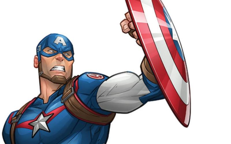 Ilustração do Capitão América empunhando seu escudo em um fundo branco. O uniforme dele quase todo azul, com detalhes em vermelho.