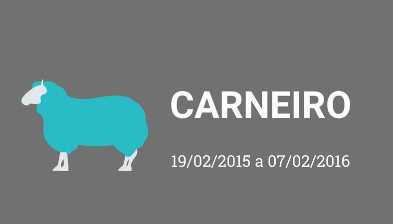 """Arte com fundo cinza e os escritos em branco """"carneiro. 19/02/2015 a 07/02/2016"""". No lado esquerdo há o desenho de um carneiro, pintado de azul."""