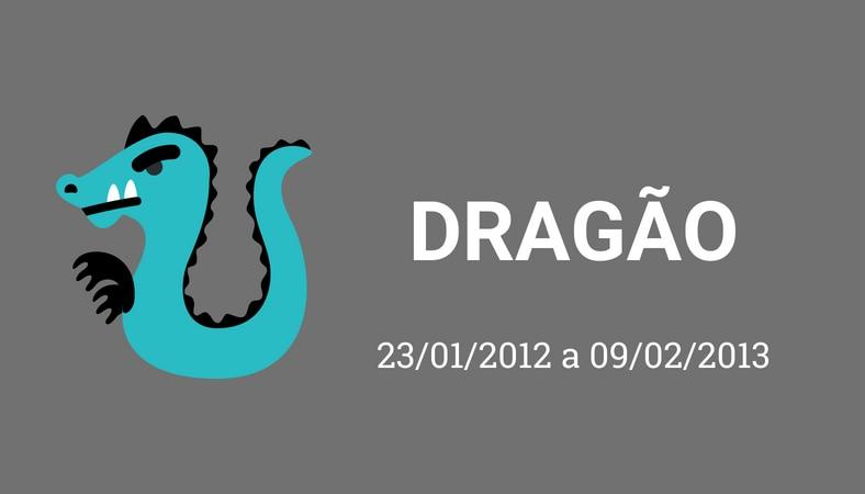 """Arte com fundo cinza e os escritos em branco """"dragão. 23/01/2012 a 09/02/2013"""". No lado esquerdo há o desenho de um dragão, pintado de azul."""