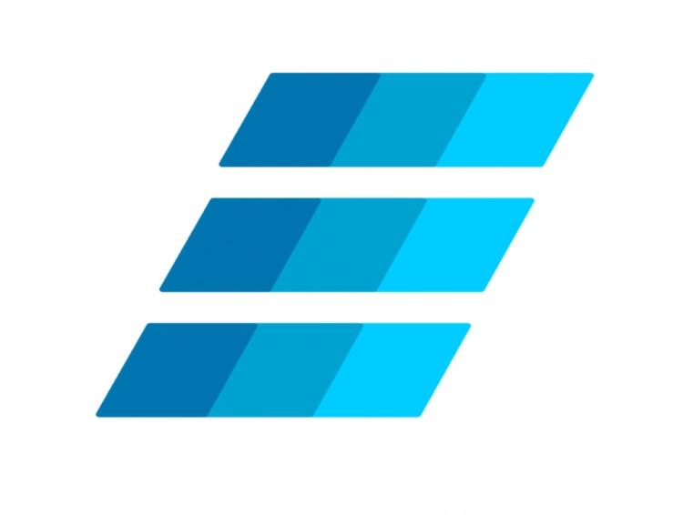 Símbolo da criptomoeda Einsteinium são três retângulos na horizontal. Eles estão enfileirados na diagonal, e são coloridos em três faixas de tons da cor azul.