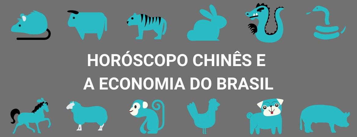"""Arte com fundo na cor cinza e desenho de doze animais pintados de azul. No topo há a ilustração de um rato, boi, tigre, coelho, dragão e serpente. No meio da imagem está escrito, em branco, """"horóscopo chinês e a economia do Brasil"""". Na parte inferior da imagem estão enfileirados os desenhos de um cavalo, carneiro, macaco, galo, cachorro e porco."""