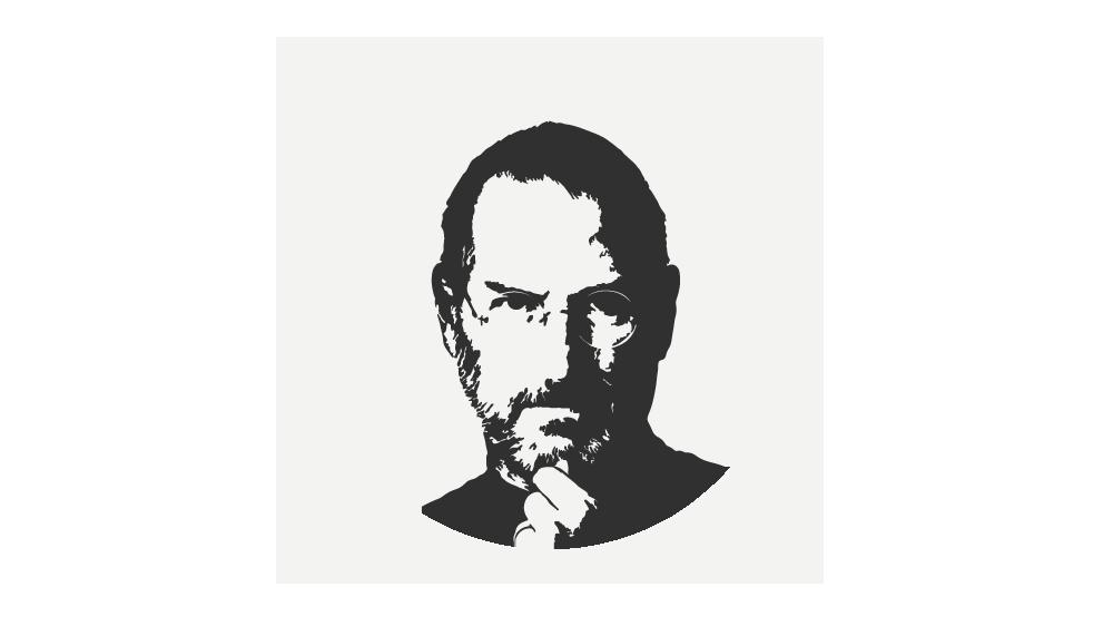 Símbolo da Jobs Coin. É uma ilustração do rosto do empresário Steve Jobs. Ele usa óculos, está segurando o queixo com uma das mãos e olha para a frente. A ilustração é em preto e branco.