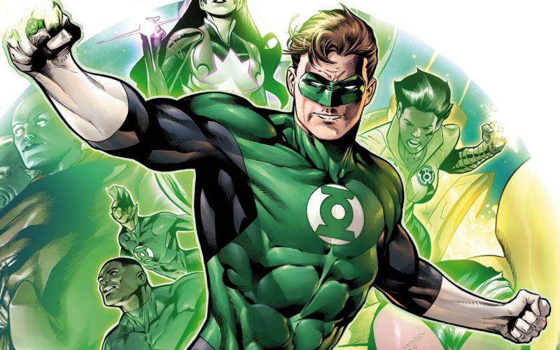 Ilustração do Lanterna Verde uniformizado, com o punho direito em riste, com outros Lanternas Verdes no fundo.