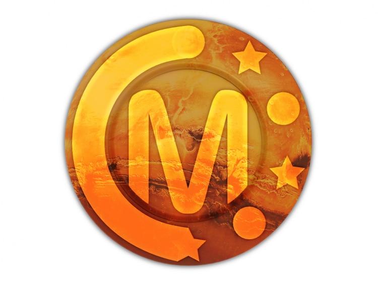 Símbolo da criptomoeda Marscoin é a letra M dentro de um círculo, em tom da cor laranja. Em volta da letra, de um lado, os desenhos de estrelas e círculos. Do outro lado, uma borda da mesma cor da letra. Ao fundo do símbolo, é possível ver o desenho sútil de uma mistura de poeira com fogo, tudo em tons de laranja e vermelho claro, simbolizando o planeta Marte.