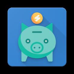 Logotipo do aplicativo Meu Boleto em fundo azul. No centro, há um cofrinho verde em formato de porco, com uma moeda amarela em cima.