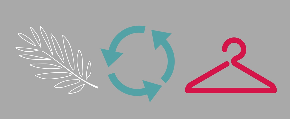 Arte em fundo cinza com três símbolos. À esquerda, em branco, uma folha. No meio, em azul, três flechas formam um círculo, demonstram a continuidade de um ciclo. No lado direito, em vermelho, um cabide.