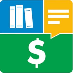 Logotipo do aplicativo Mobills, com um quadrado formado por um retângulo azul, com ícone de livros; um balão de mensagens amarelo; e um retângulo verde, com ícone de cifrão.