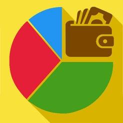 Logotipo do aplicativo Orçamento Fácil em fundo amarelo. Há um gráfico em formato de pizza nas cores azul, vermelho e verde, com um desenho de uma carteira marrom com dinheiro ao lado.