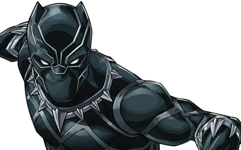 Ilustração do Pantera Negra uniformizado, em posição de luta, com fundo branco. O uniforme dele é todo preto e cobre o corpo inteiro dele.