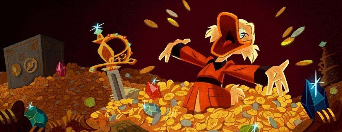 Tio Patinhas está mergulhado em uma montanha de moedas de ouro, pedras preciosas e outros itens de valor. O personagem está sorrindo e jogando moedinhas para cima