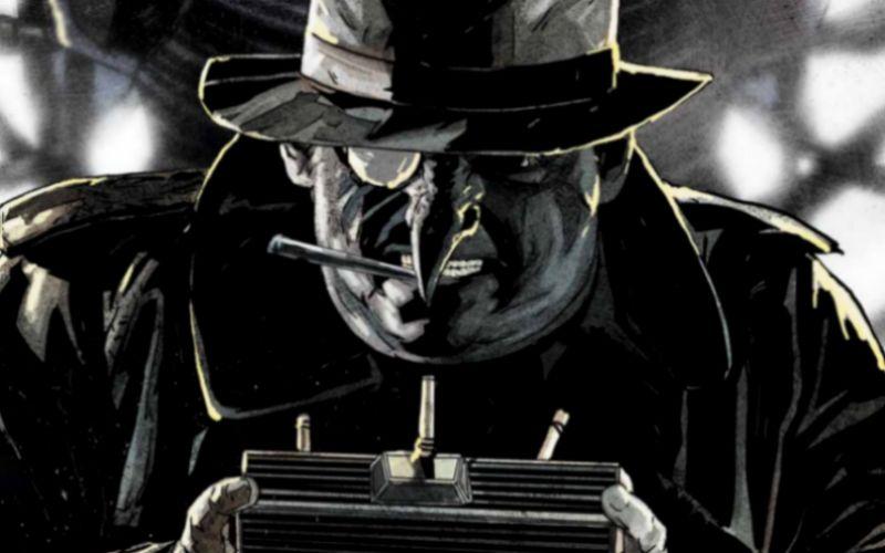 Ilustração em preto e branco do Pinguim, fumando um cigarro e segurando um rádio portátil. Ele usa sobretudo e chapéu pretos.