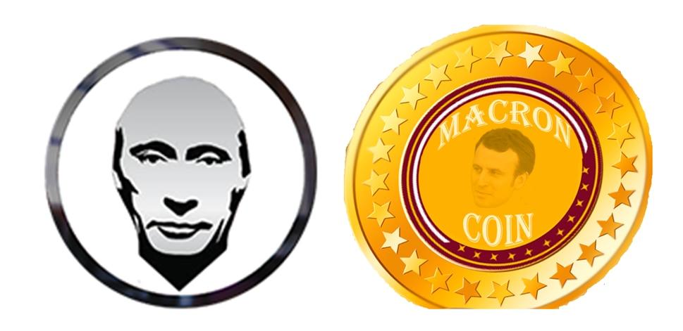 Ao lado esquerdo está o símbolo da PutinCoin. É um desenho do rosto do presidente Vladmir Putin. Em volta da cabeça dele, que está na cor cinza, tem um aro, também cinza. Do lado direito da imagem, há o símbolo da MacronCoin. Há o desenho de uma moeda dourada, com estrelas em volta. No centro da moeda, há o desenho do rosto do Presidente Emmanuel Macron, com os dizeres Macron Coin.