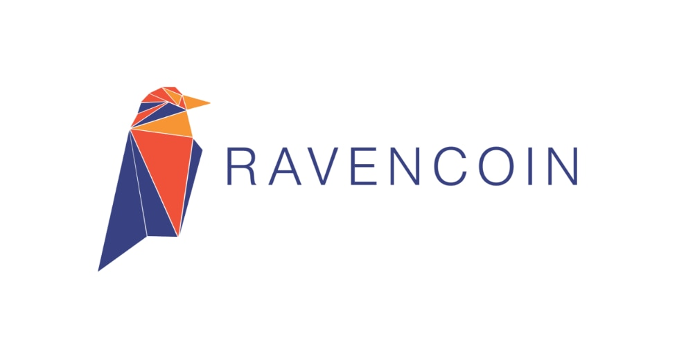 O símbolo da criptomoeda Ravencoin consiste no desenho de um corvo. Ele é colorido em tons de roxo, amarelo e vermelho escuro. O corvo tem linhas brancas em cima dele, fazendo divisões, deixando a aparência de um mosaico no desenho. Ao lado do pássaro, o nome da moeda é escrito em roxo, em letras de forma.
