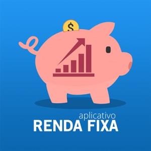 Logotipo do aplicativo Renda Fixa em fundo azul. No centro, há um cofre rosa em formato de porco, com uma moeda amarela em cima. Há um ícone de um gráfico dentro do cofre. Embaixo, há os dizeres Aplicativo Renda Fixa na cor branca.