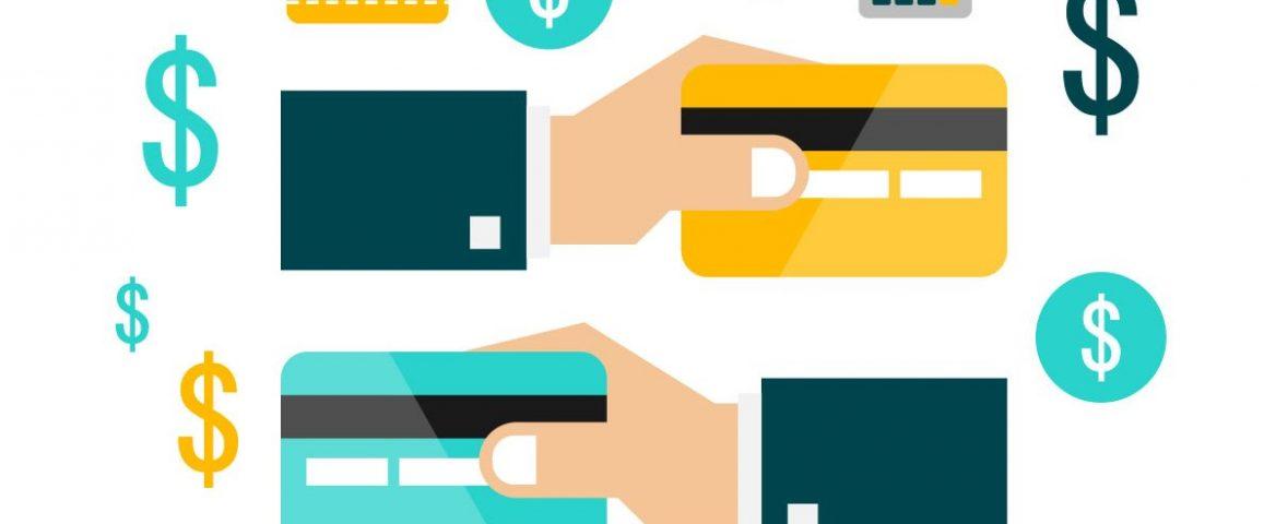 A imagem é um desenho, há diversos ícones com o cifrão, duas mãos seguram um cartão de crédito.