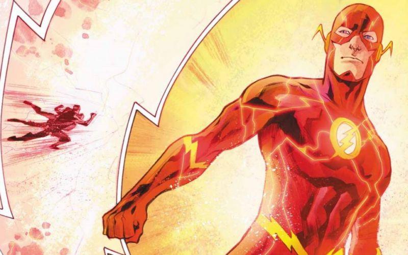 Em um fundo laranja, o super-herói The Flash está correndo. O uniforme dele é todo vermelho e cobre praticamente todo seu corpo, deixando apenas os olhos, nariz e boca descobertos. Em sei peito há um símbolo de raio, que representa o herói.