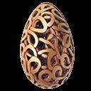 Moderno, elegante e bem decorado, com detalhes vazados e pintura dourada na casca, este ovo tem quebra crocante. Na boca, o praliné predomina com bom caramelo.